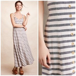 NWOT Anthropologie Maeve Striped Linen Maxi Dress